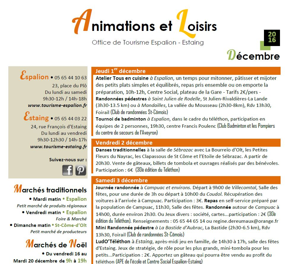 Animations de décembre
